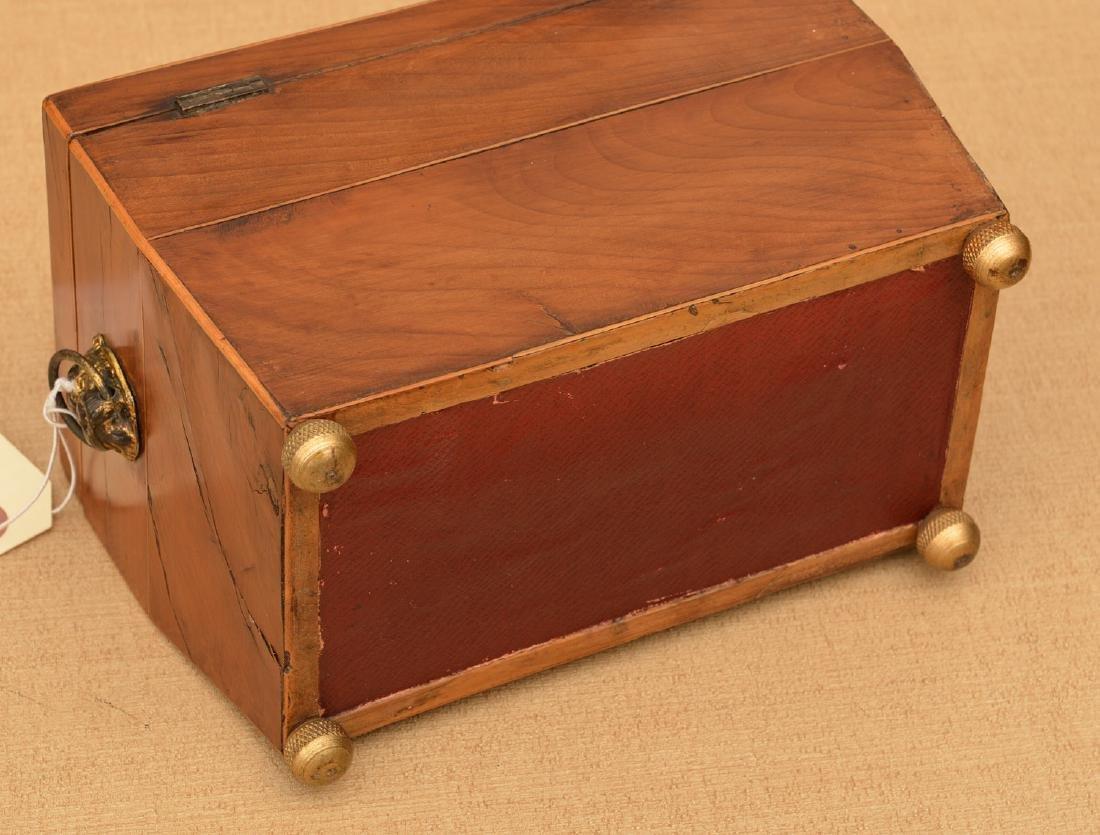English Regency inlaid sarcophagus tea caddy - 4
