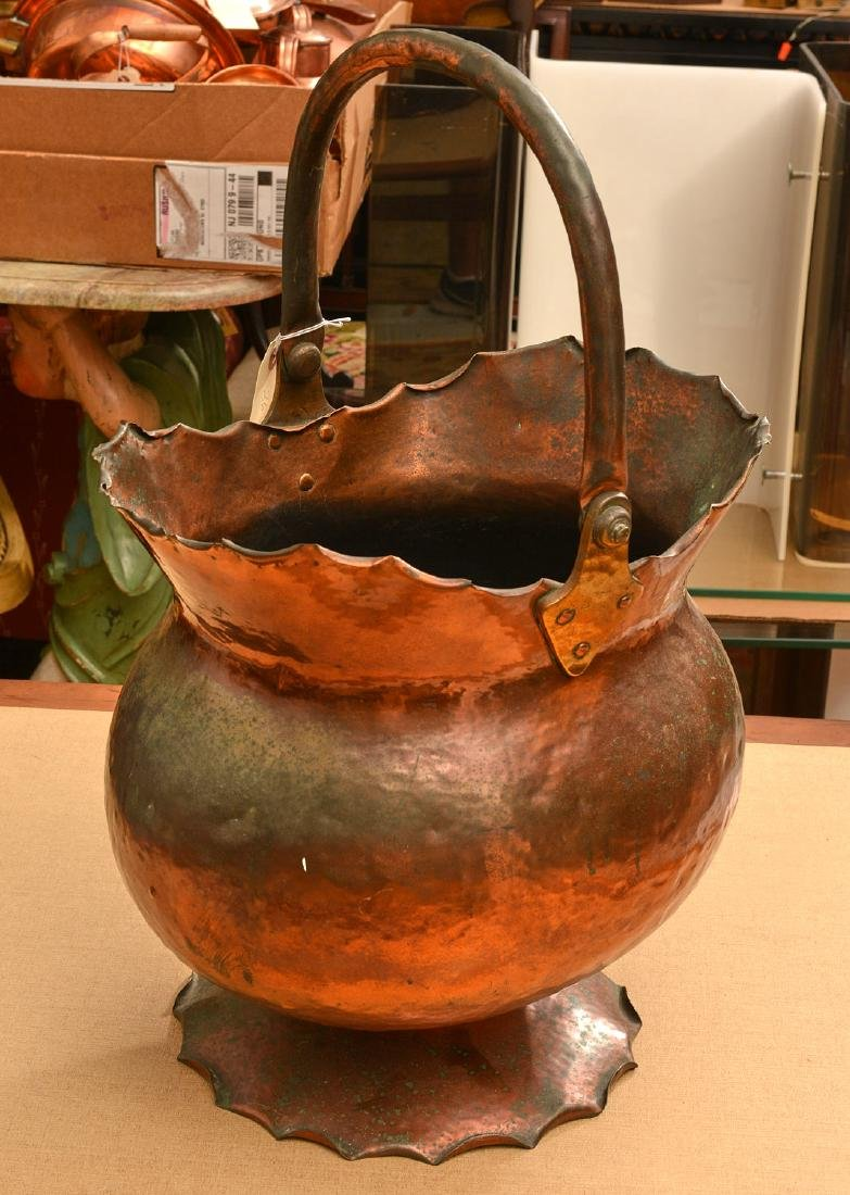 Arts & Crafts hammered copper coal bucket