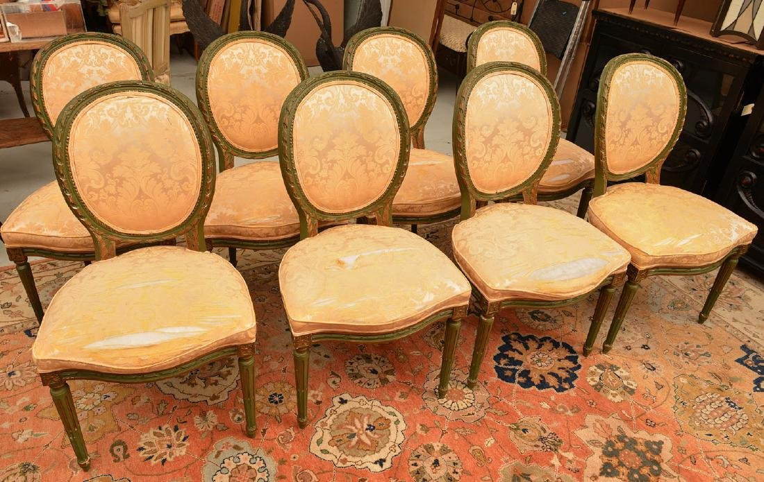 Set (8) Louis XVI style painted dining chairs