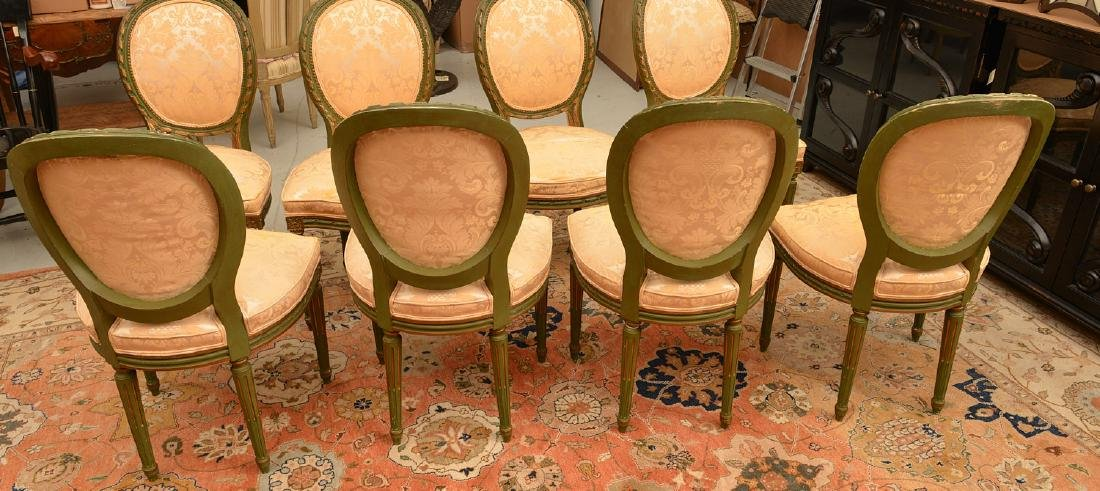 Set (8) Louis XVI style painted dining chairs - 4