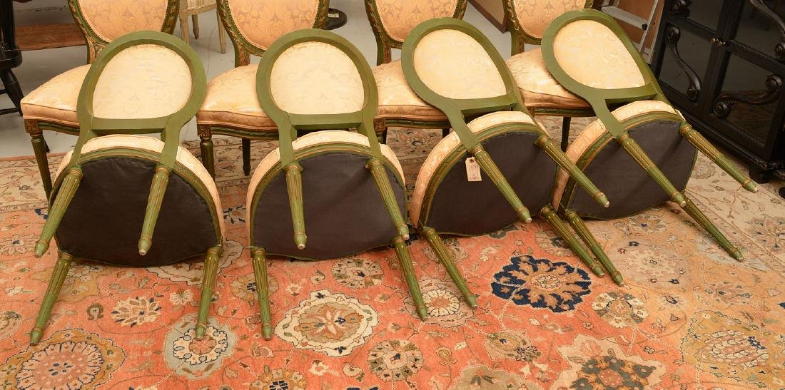 Set (8) Louis XVI style painted dining chairs - 5
