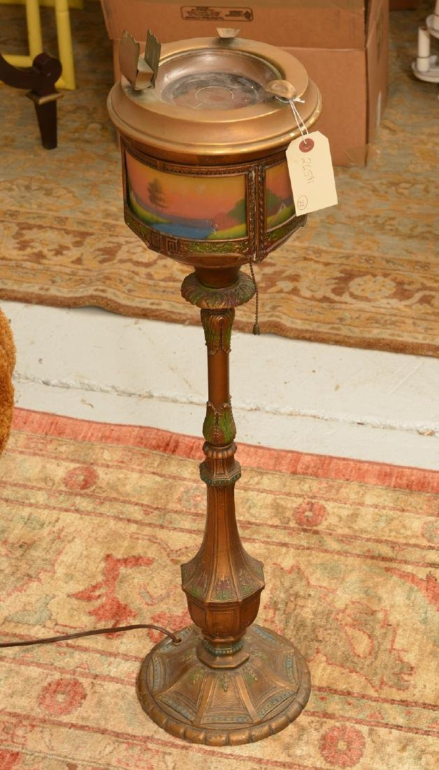 Reverse painted glass smoking stand lamp