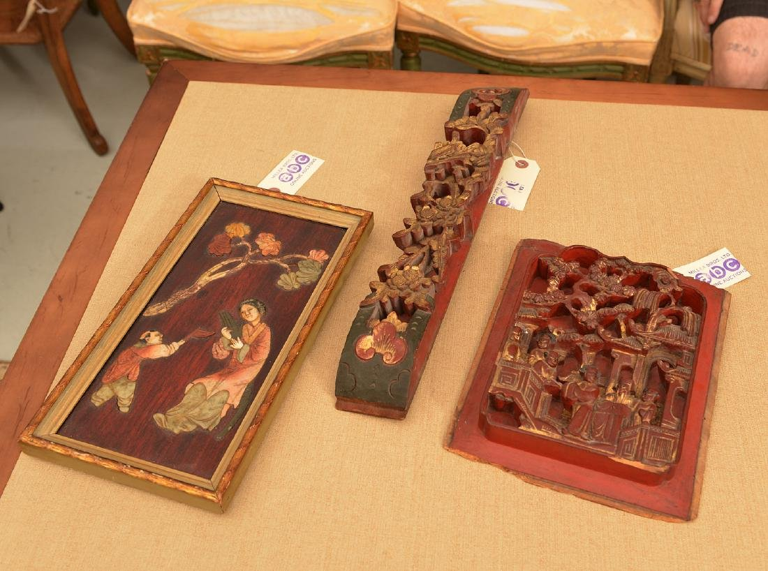 (3) Chinese carved wall hangings