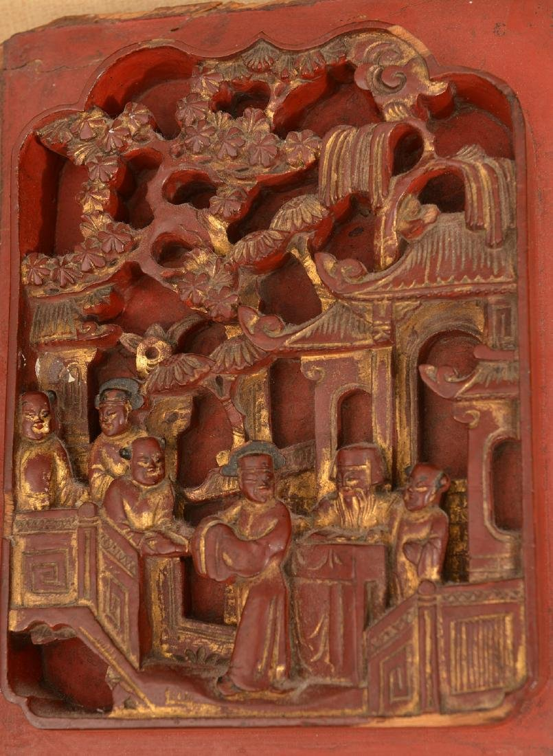 (3) Chinese carved wall hangings - 4