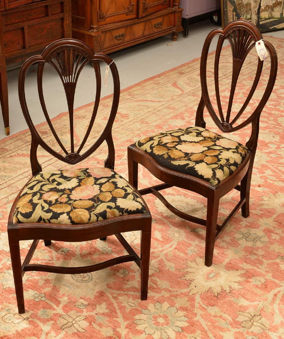 Pair Hepplewhite style shield back side chairs