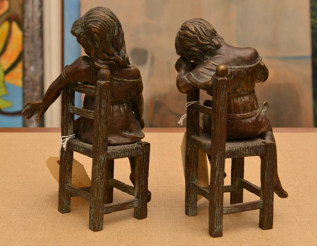 Pair patinated bronze figures of seated children - 4