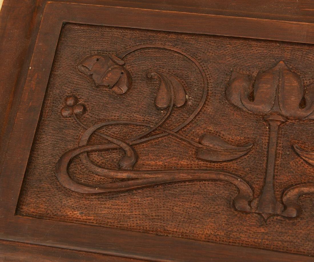 Pair Art Nouveau carved walnut relief panels - 2