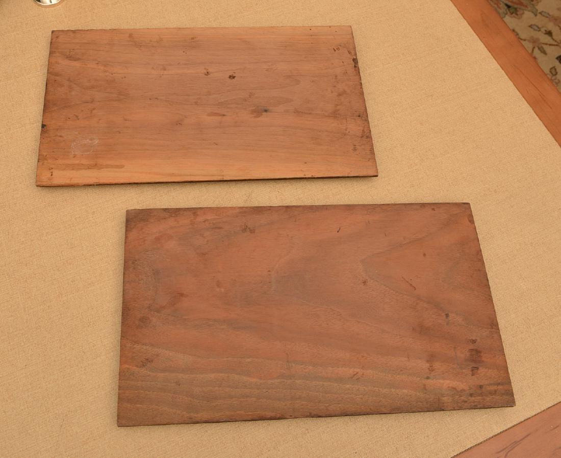 Pair Art Nouveau carved walnut relief panels - 4