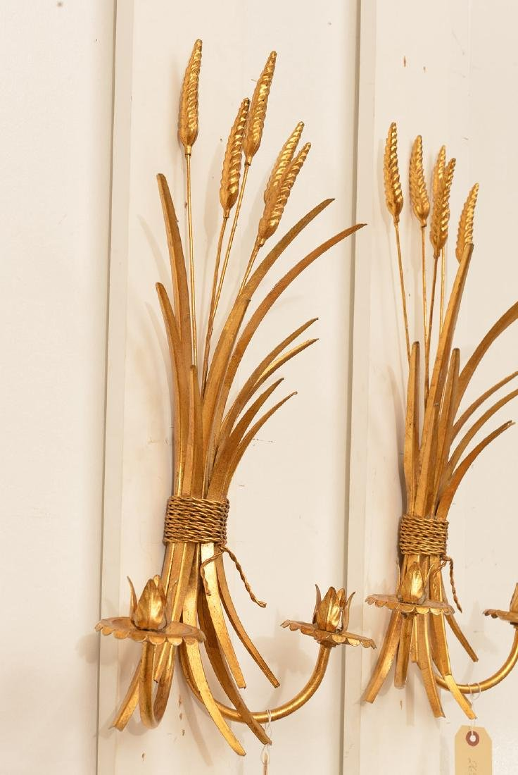 Pair gilt metal wheat sheaf candle sconces - 2