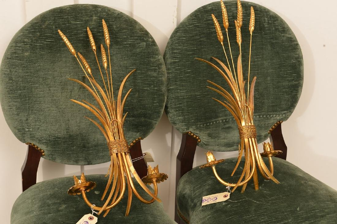 Pair gilt metal wheat sheaf candle sconces - 5