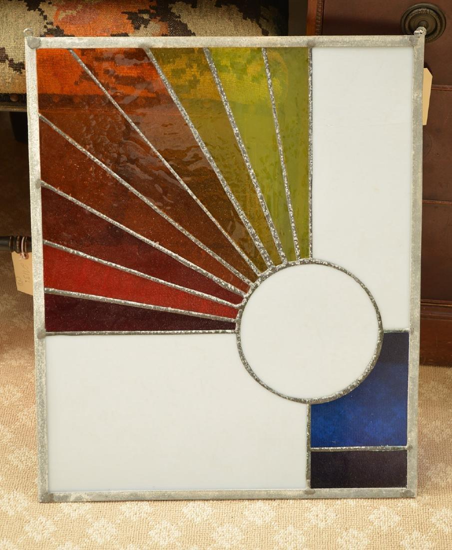 Modernist design leaded glass window panel