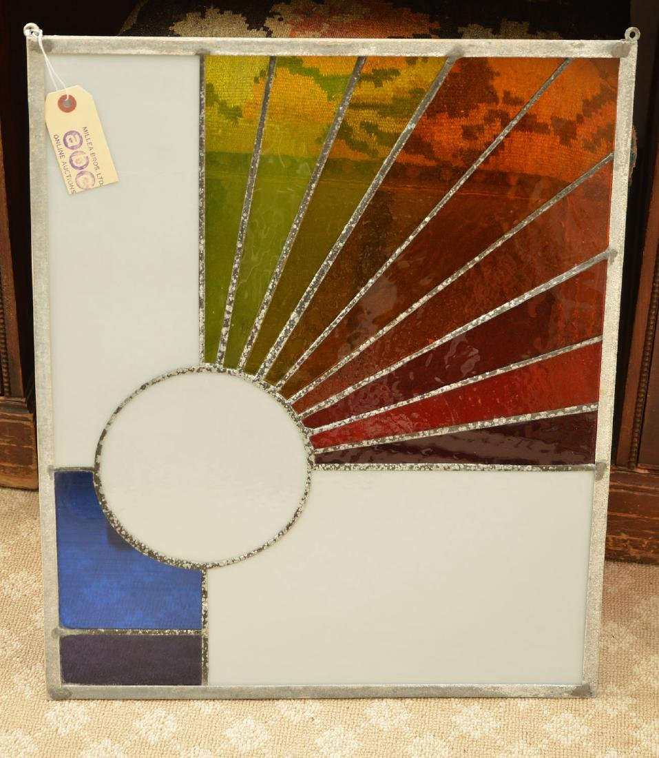 Modernist design leaded glass window panel - 3