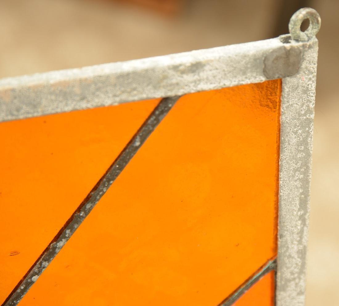 Modernist design leaded glass window panel - 4