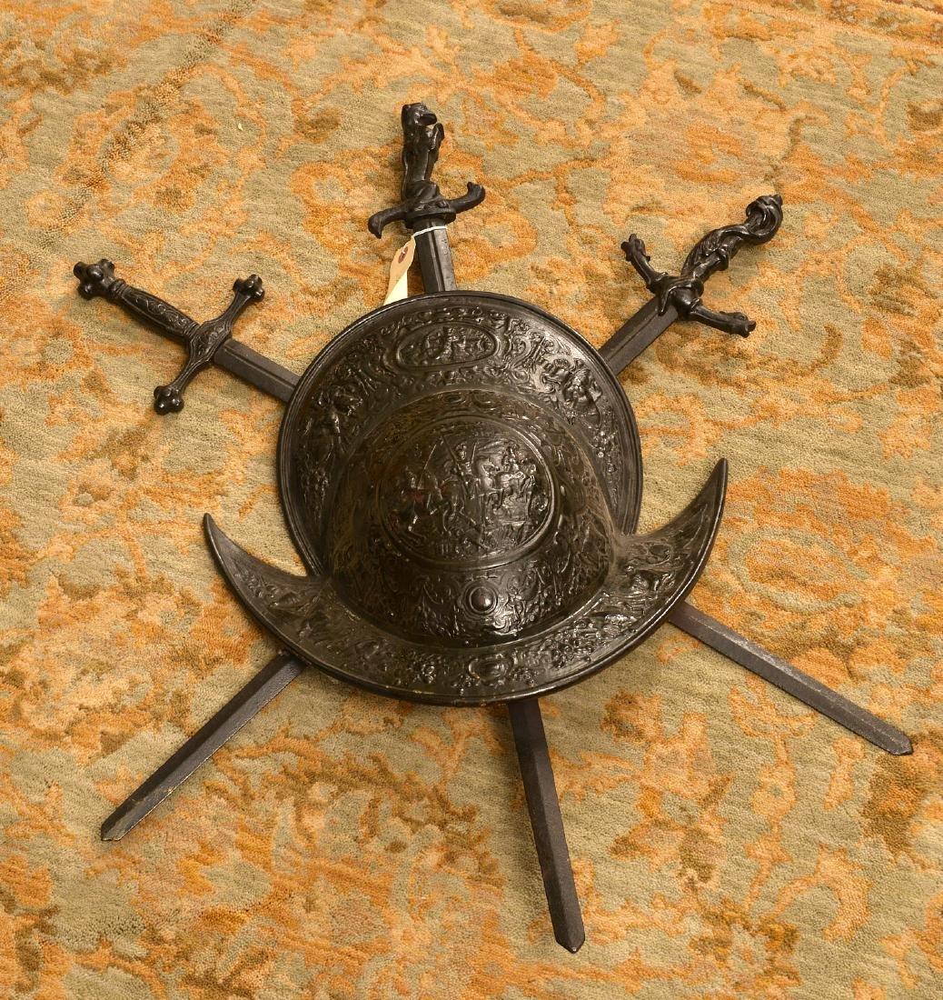 Cast iron conquistador style armorial plaque