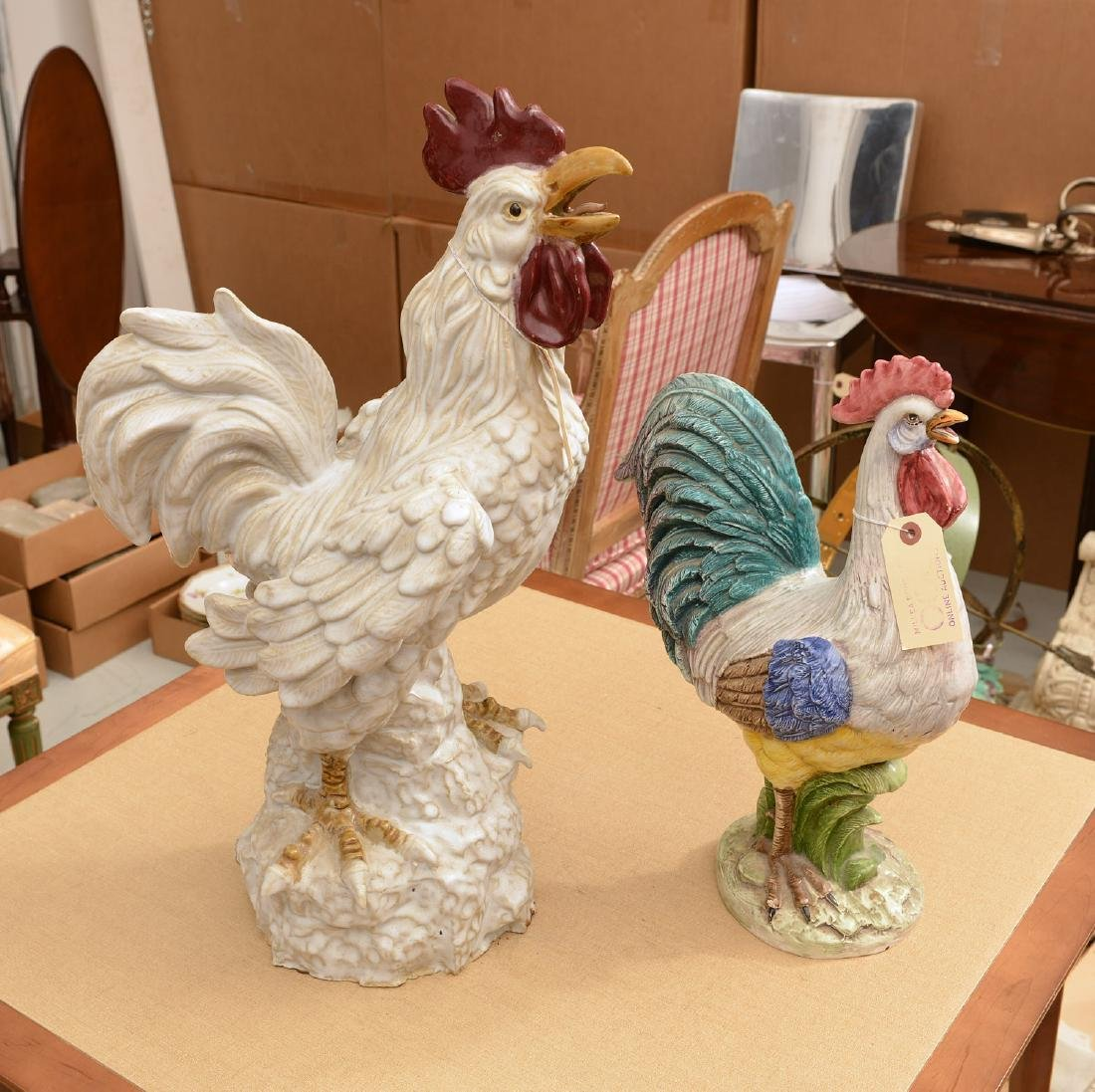 (2) large Italian ceramic rooster figures