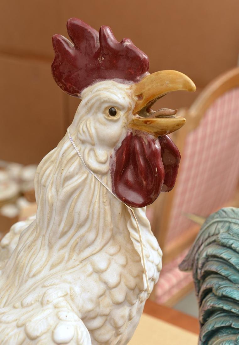 (2) large Italian ceramic rooster figures - 2
