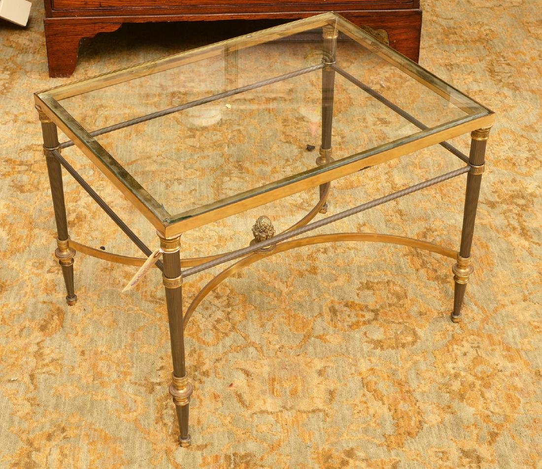 Jansen style steel and bronze side table