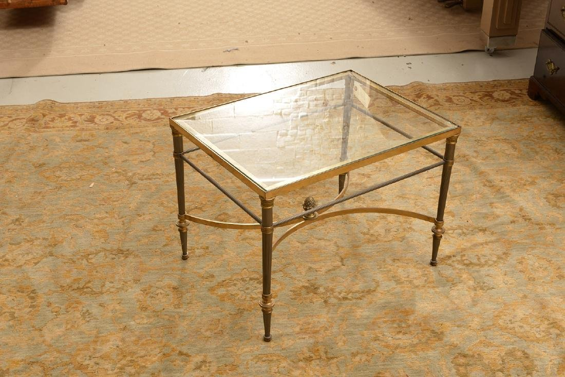 Jansen style steel and bronze side table - 2