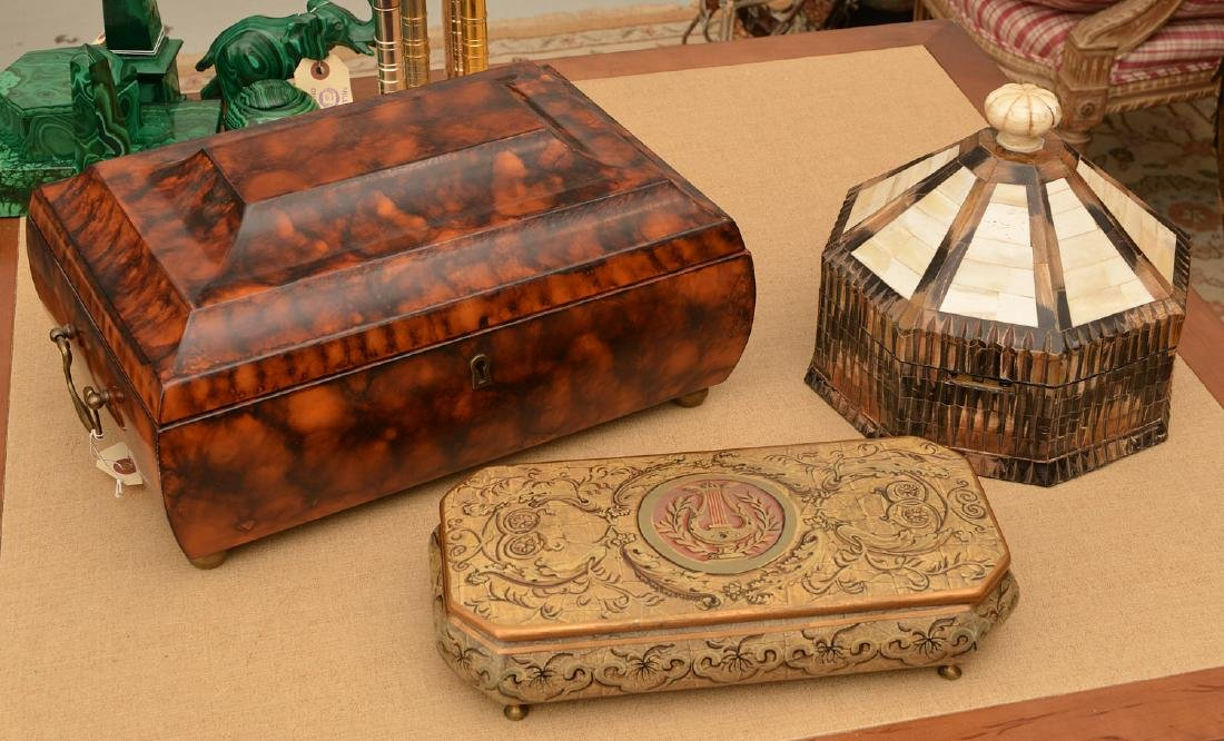 (3) decorator jewelry and dresser boxes