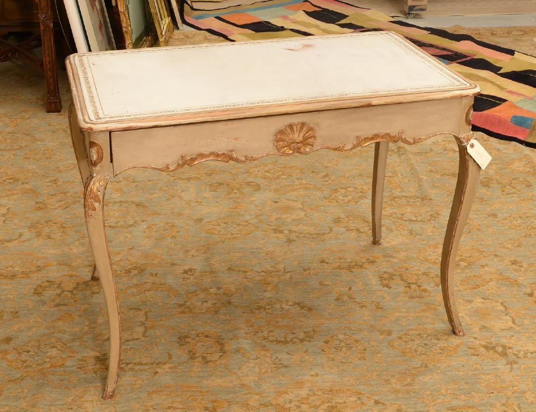 Regence style white painted, gilt bureau plat