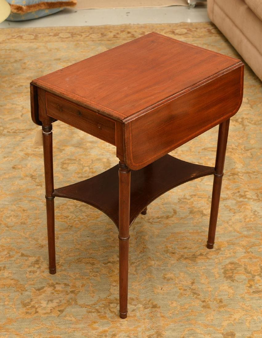Antique Sheraton style inlaid pembroke table - 2