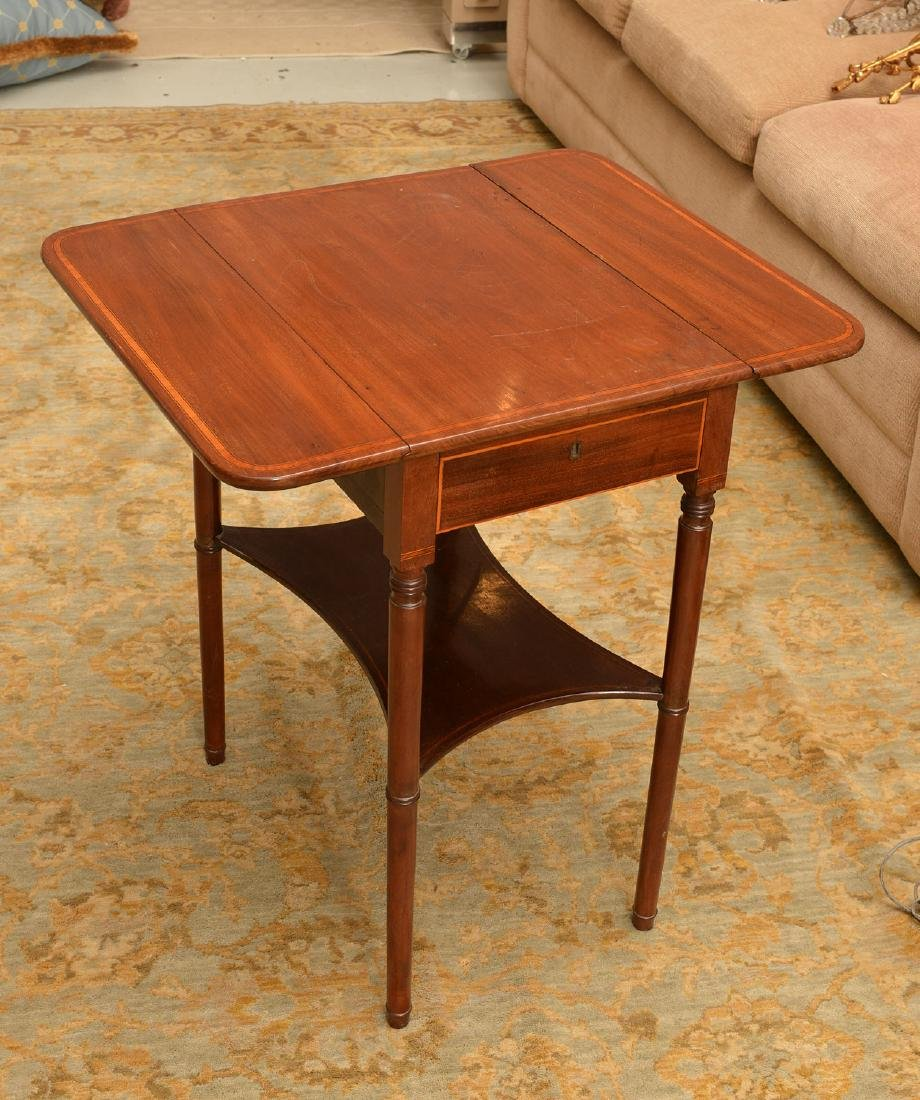 Antique Sheraton style inlaid pembroke table - 4
