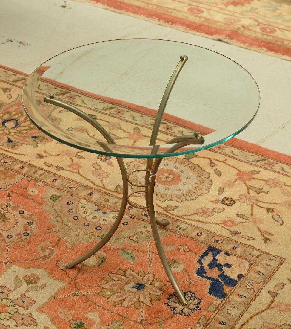 Jansen style glass top occasional table
