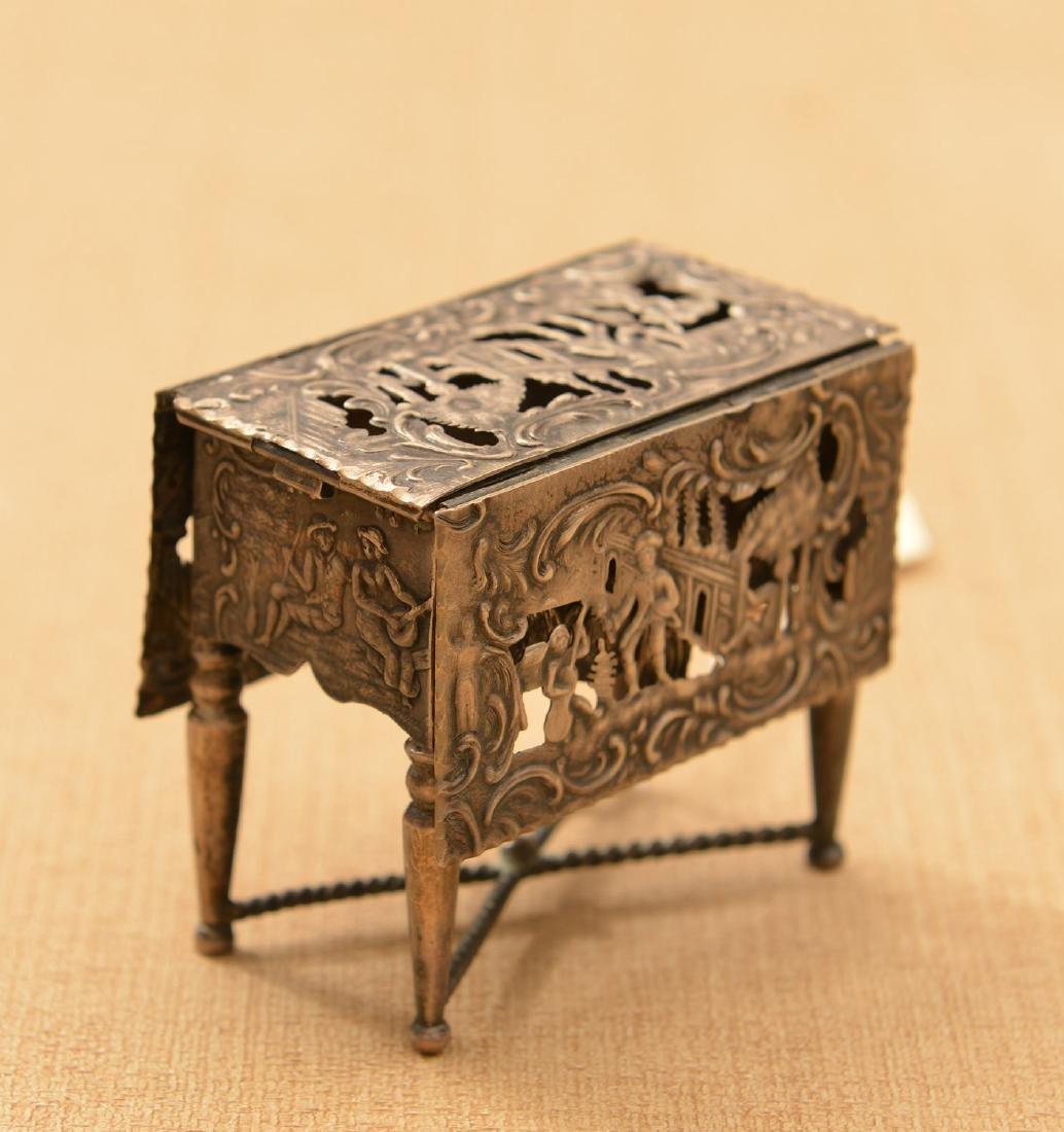 Dutch .800 silver miniature drop-leaf table