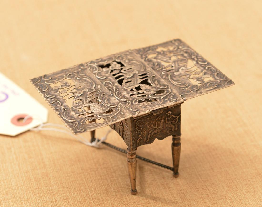 Dutch .800 silver miniature drop-leaf table - 2