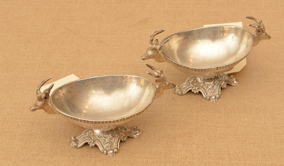 Pair American stag handled coin silver salts