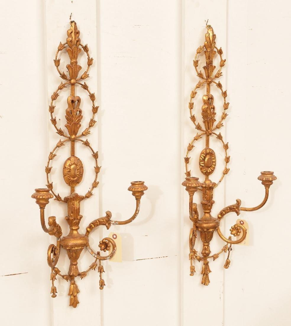 Pair Italian Neo-Classical style gilt wood sconces