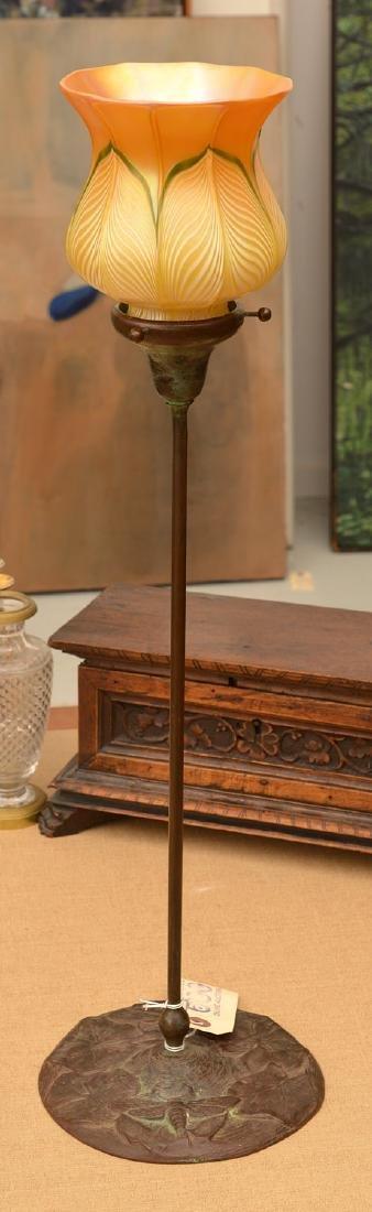 Tiffany Studios style bronze candlestick lamp