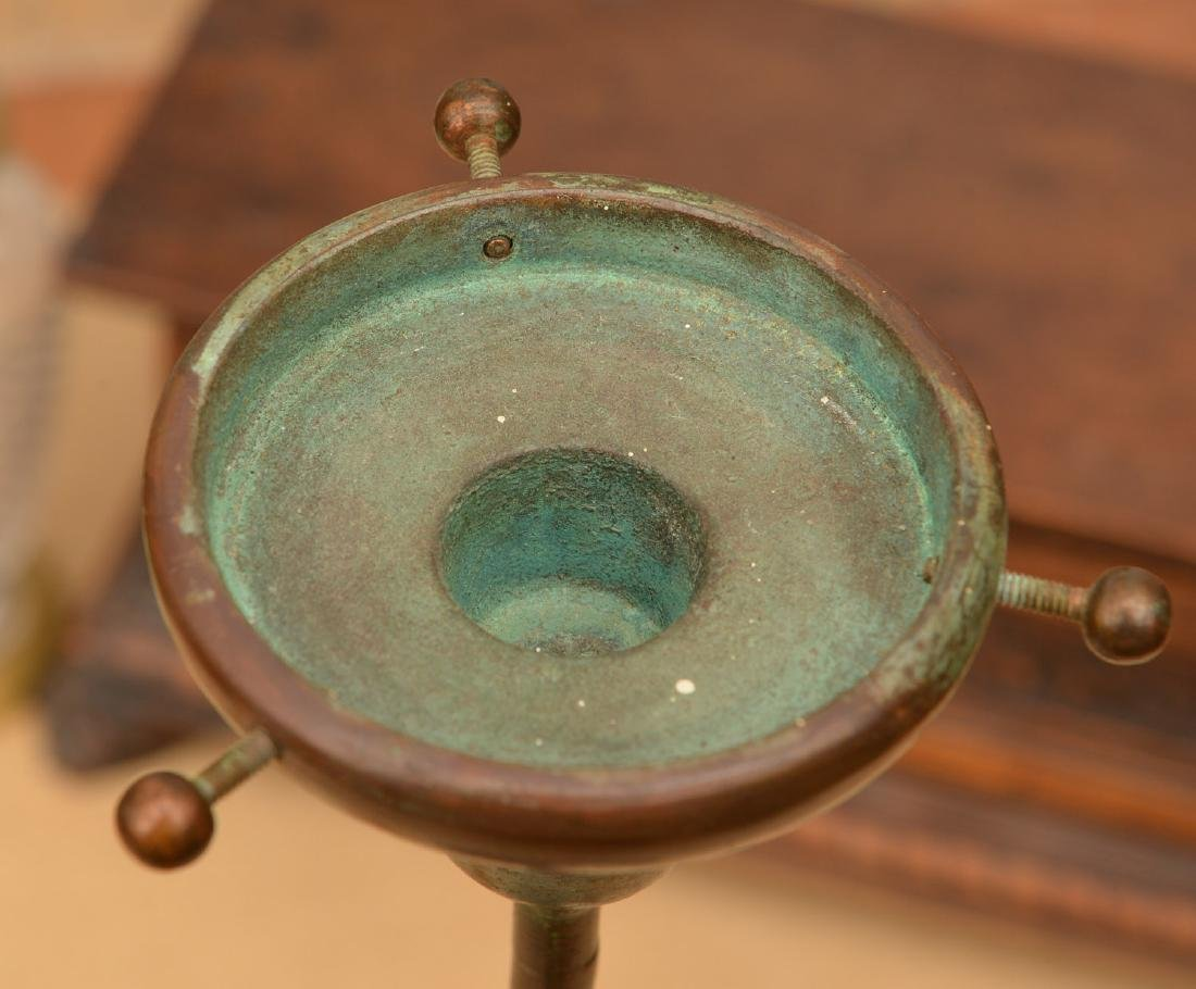 Tiffany Studios style bronze candlestick lamp - 5