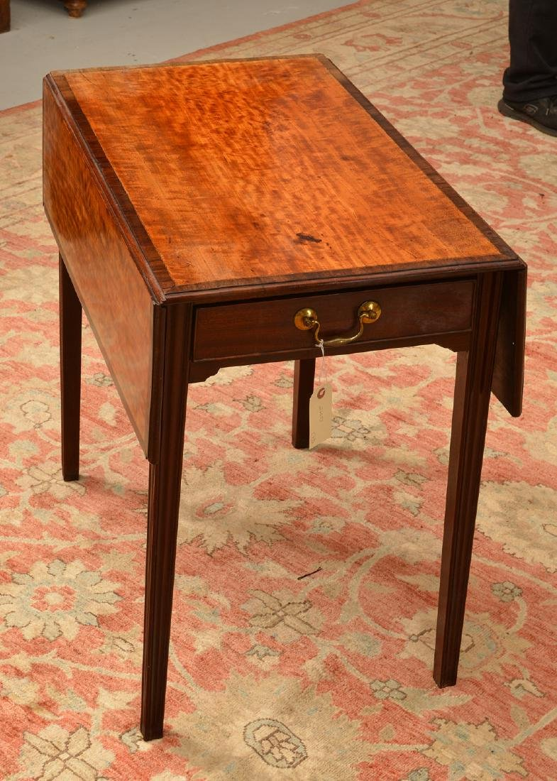 Chippendale style banded drop leaf table