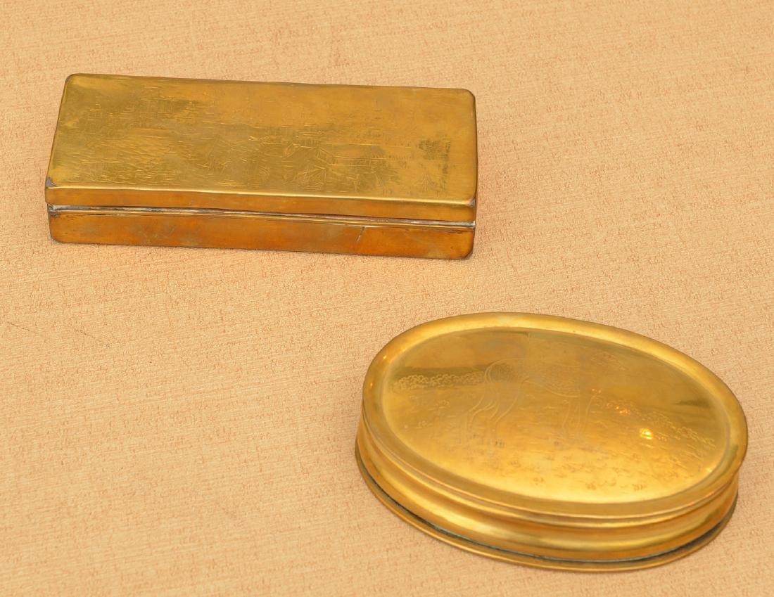 (2) Dutch engraved brass tobacco boxes