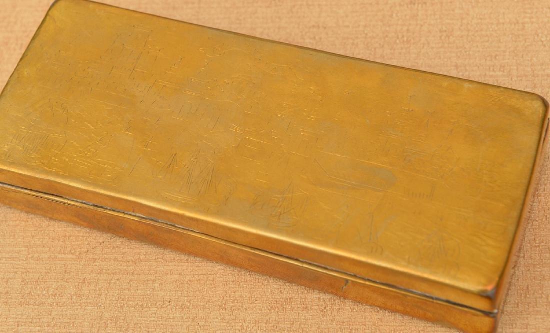 (2) Dutch engraved brass tobacco boxes - 2