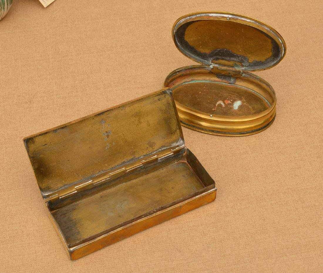(2) Dutch engraved brass tobacco boxes - 4