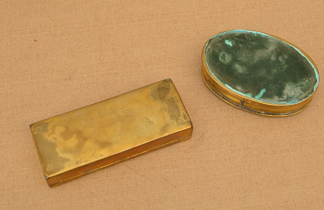 (2) Dutch engraved brass tobacco boxes - 5