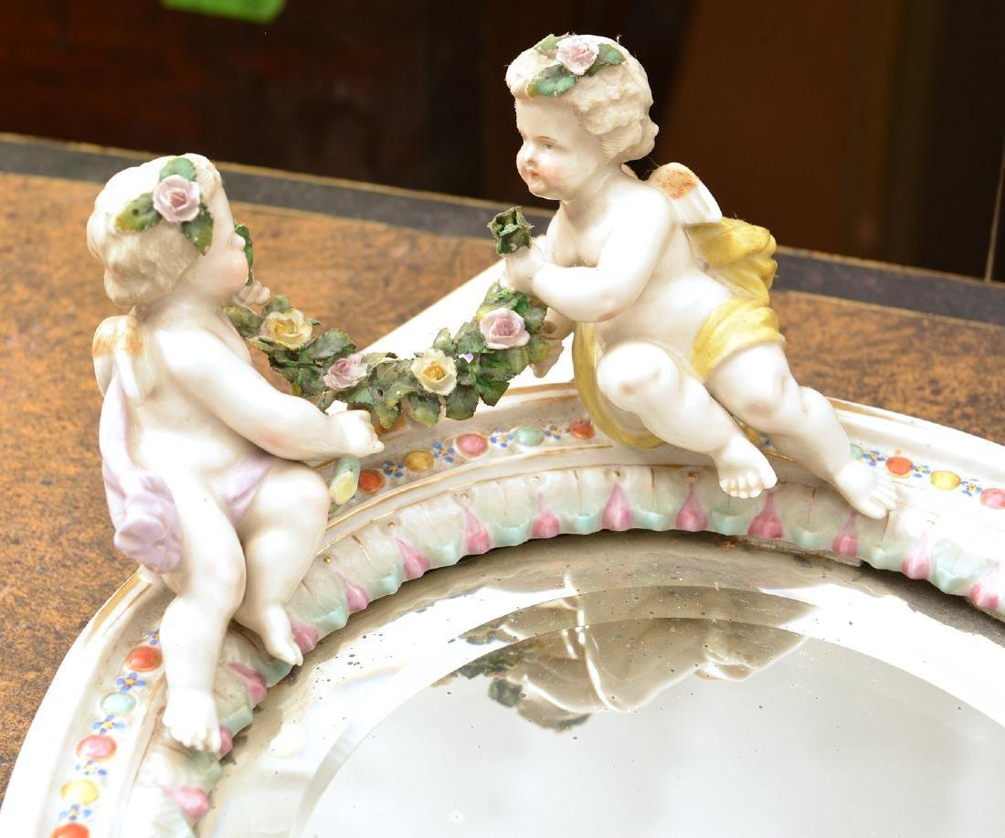 Meissen style hand-painted porcelain cherub mirror - 2
