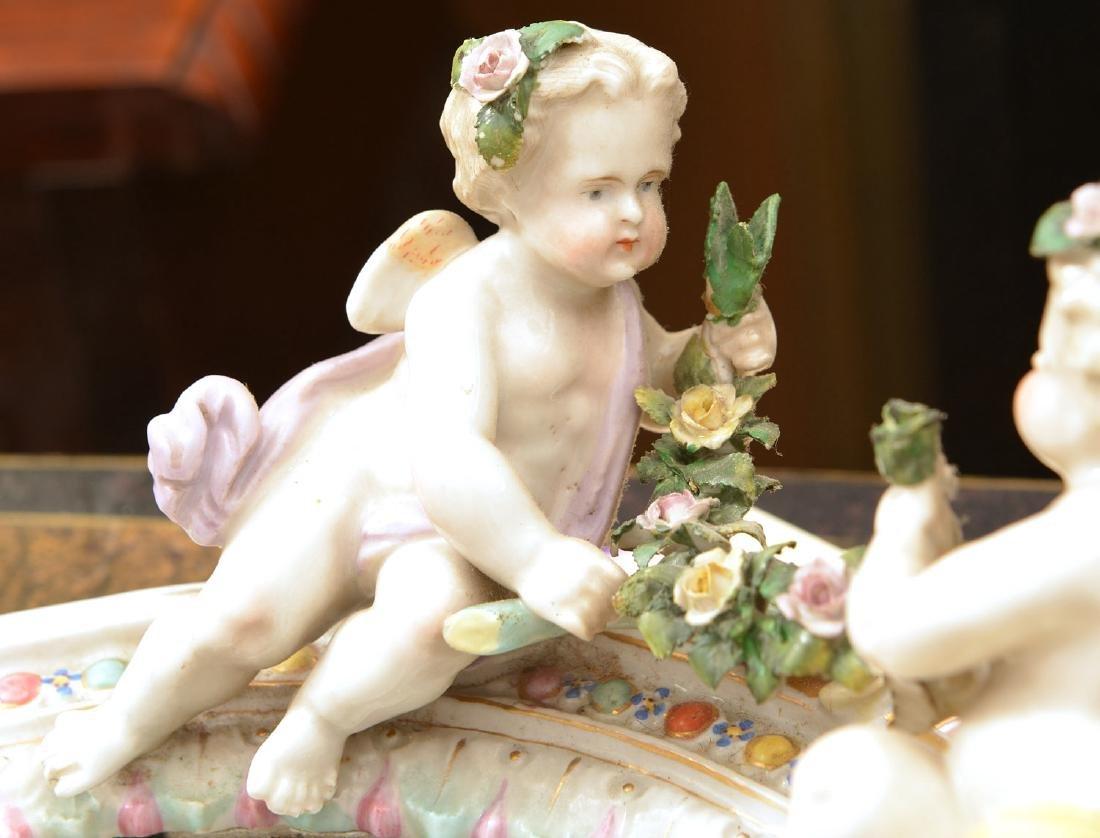Meissen style hand-painted porcelain cherub mirror - 3