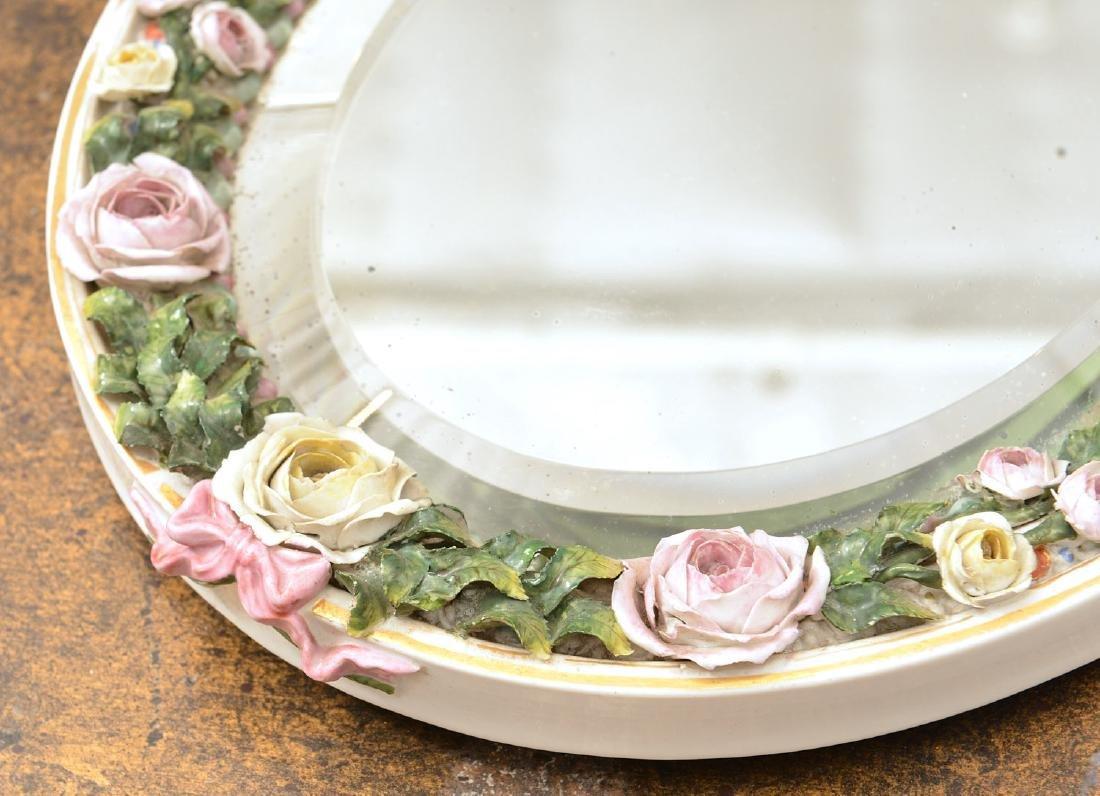 Meissen style hand-painted porcelain cherub mirror - 4