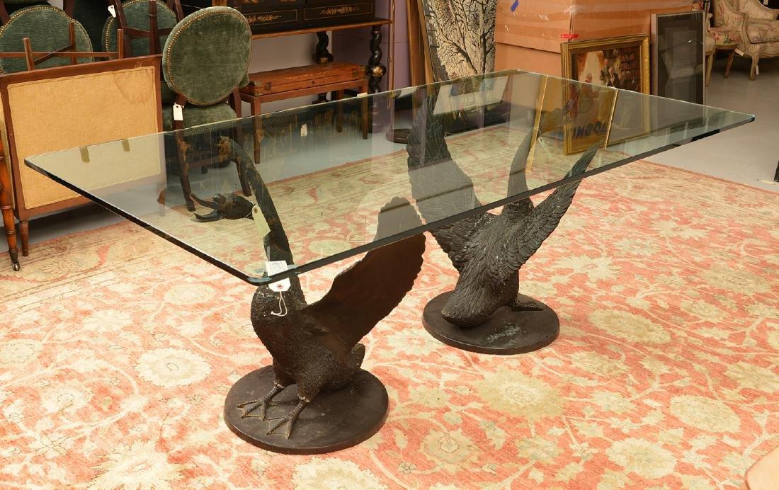 Cyndi Lauper's bronze swan dining table