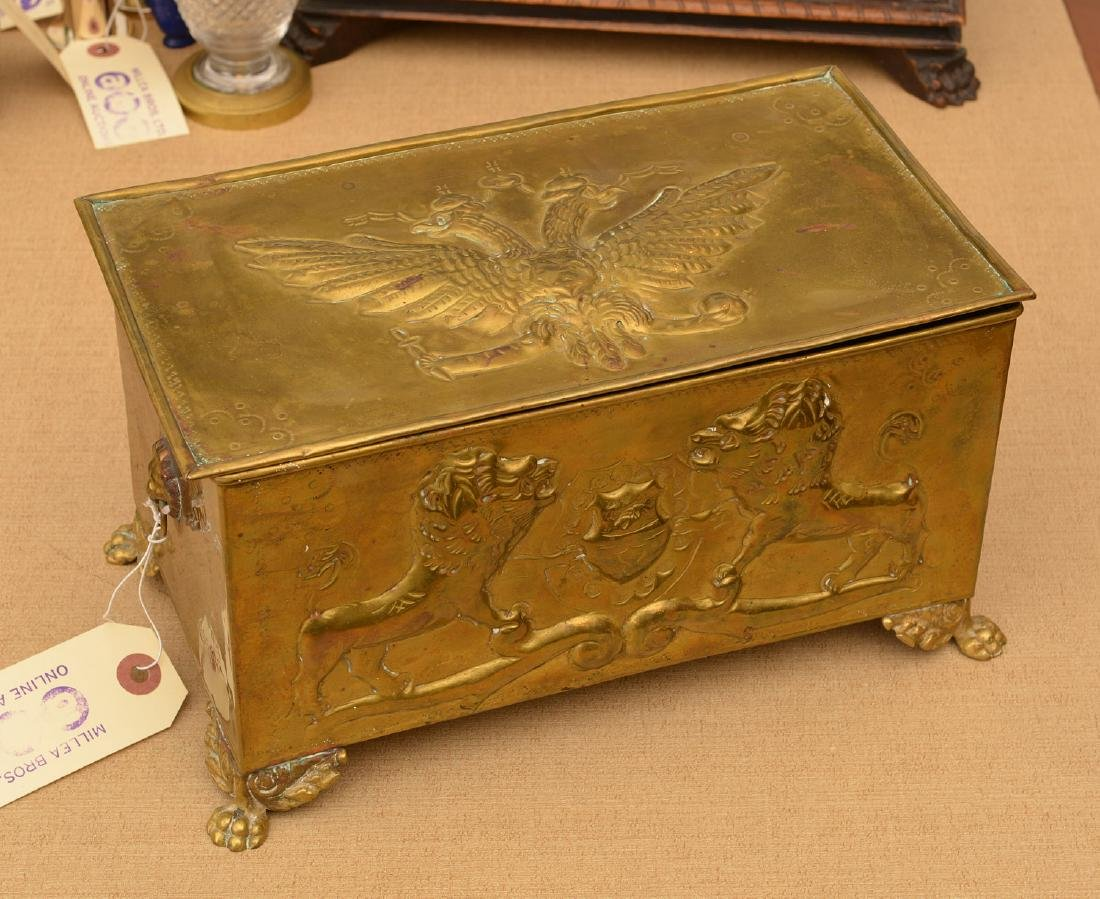 Antique Russian embossed brass humidor