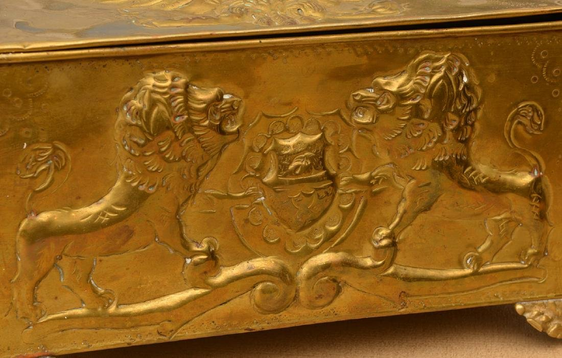Antique Russian embossed brass humidor - 4