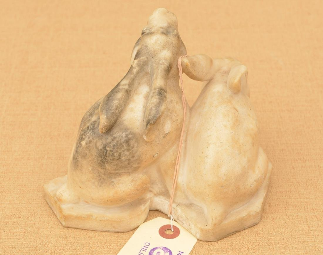 Carved white marble rabbit group - 2