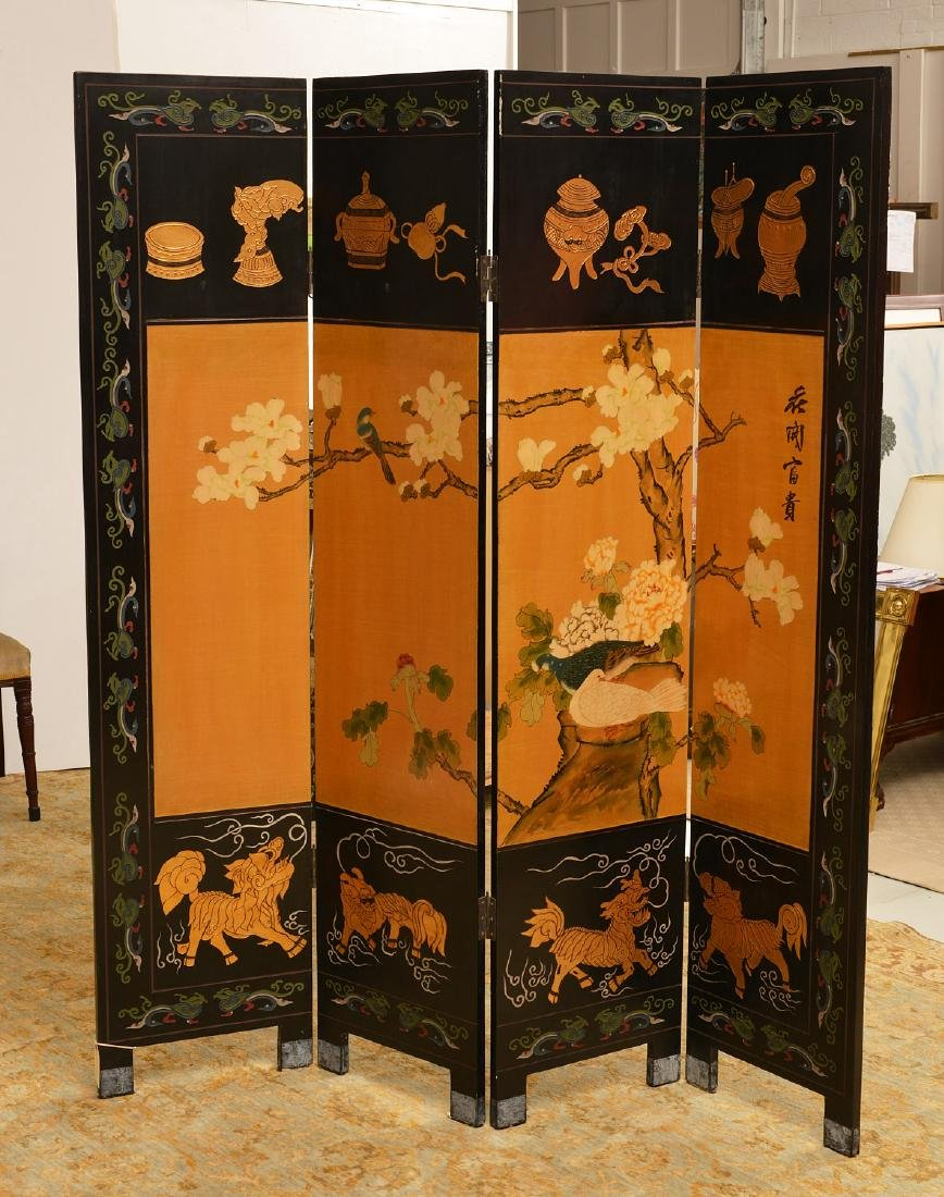 Chinese carved, lacquered, and gilt floor screen