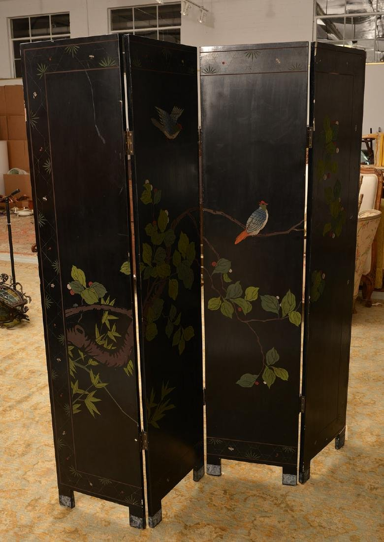 Chinese carved, lacquered, and gilt floor screen - 5