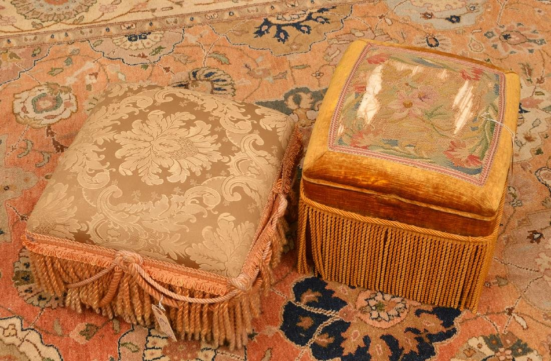 (2) Decorator silk fringed footstools
