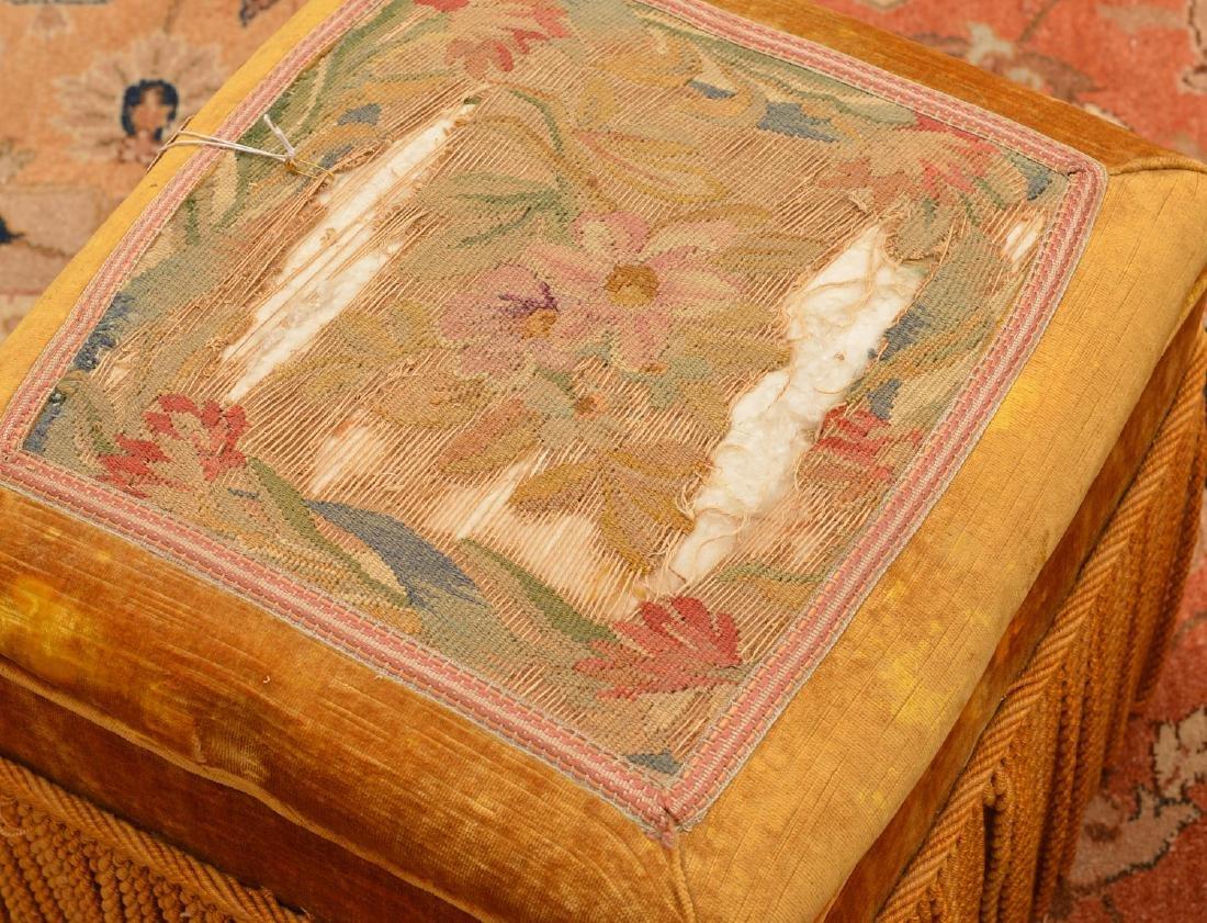 (2) Decorator silk fringed footstools - 2