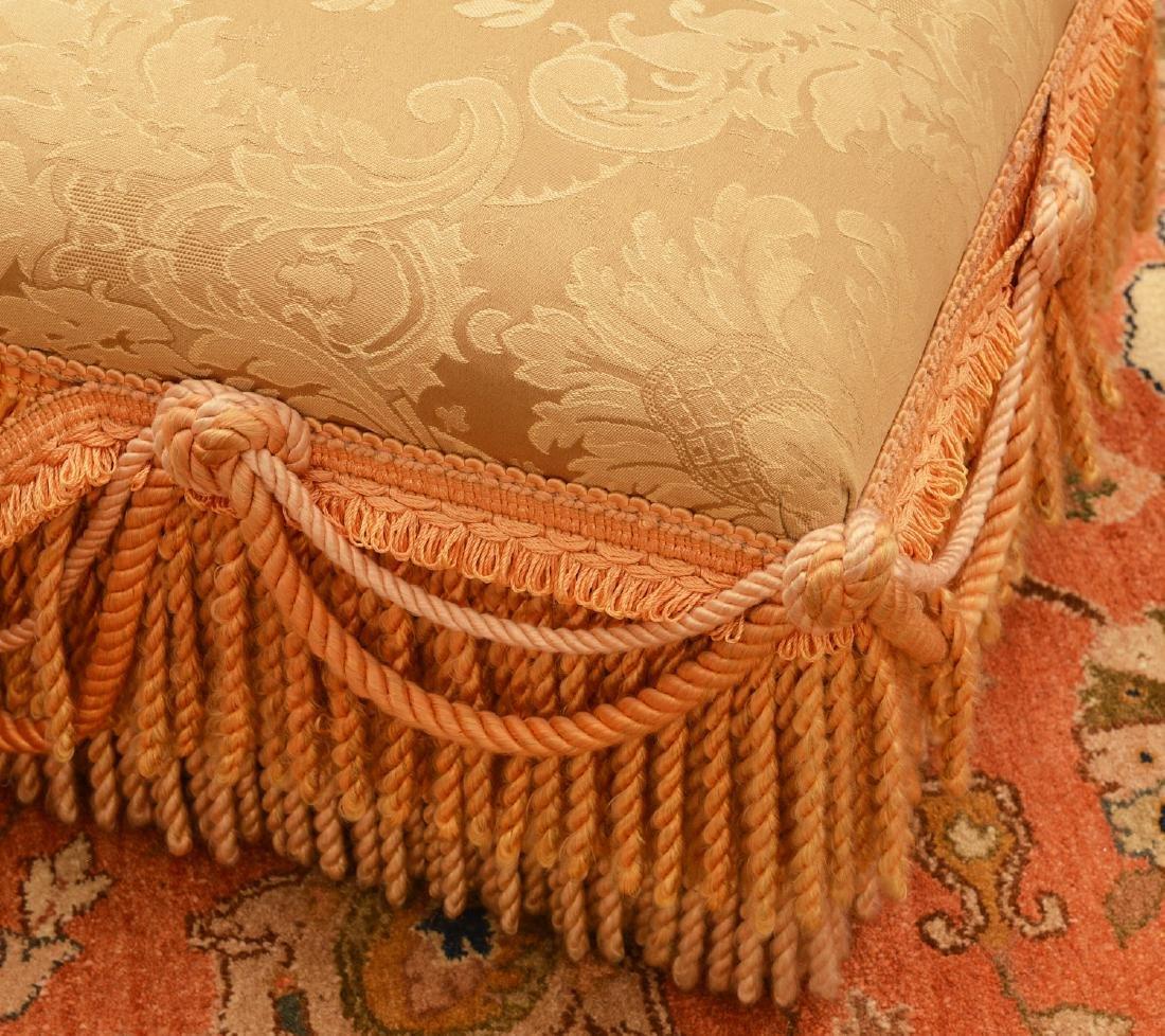 (2) Decorator silk fringed footstools - 3